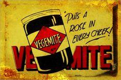 Vegemite - an Australian staple ~ tin advertising sign Vintage Food Posters, Vintage Food Labels, Vintage Signs, Advertising Signs, Vintage Advertisements, Vintage Ads, Famous Advertisements, Vintage Stuff, Vintage Prints