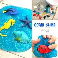 Best Ocean Theme Recipe for Slime, Jiggly Slime, Under the Sea Theme Activities, How to Make Slime, Perfect Glittery Slime Recipe for Kids, Ocean Activities