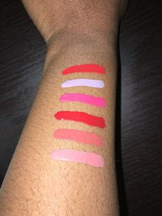 """Beautiful arm swatches of our Vinyl Lip Lacquers -1 """"Soaked!"""" (Top-Bottom) """"New"""" Stella, """"New"""" Grace, Loaded, Bff, Uptight and Lovefest!"""