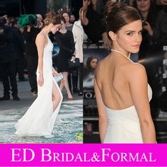 Emma Watson Dress at Noah UK Premier  High Slit Backless Long Fitted White Prom Dress Chiffon Celebrity Formal Evening Gown