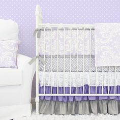 Caden Lane Baby Bedding brand NEW purple damask bedding with purple and gray ruffle crib skirt #purple #nursery #cadenlane