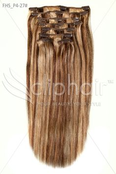 Full Head 100 % Remy Clip in Human Hair Extensions - Ash Brown (#4/27) |Price starts from £34.99| Click the image to shop now! www.cliphair.co.uk