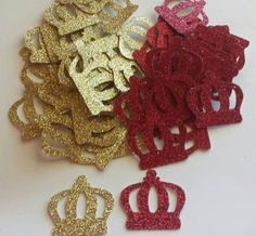 Royal Little Prince Crown Confetti Red Gold Blue And Purple Glitter Also  Available 1st Birthday Or Baby Shower Table Decor
