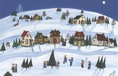 """Daily Art of the Day, Friday December 28, 2012 """"Snowy Village""""-SOLD - by Charlene Murray Zatloukal"""