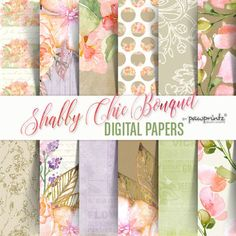 Shabby Chic Digital Paper: Floral Watercolor Peach Green Lavender Wood  You will receive: - zipped file, 12 jpeg files inside - each digital paper is 12x12, 300dpi  Note: No physical item will be shipped to you  Check out more items here: www.etsy.com/shop/PawPrintzDesignShop  For commercial and/or volume printing as paper products, fabric products, etc., and files used unaltered/unedited, please convo me.  Please see POLICIES to see complete Terms of Use  Thank you for st...