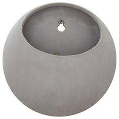 "Rivet Modern Round Earthenware Wall Mount Planter, 7.75"" H, Grey"
