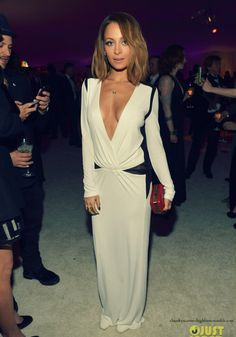 Nicole Richie in white long-sleeved gown