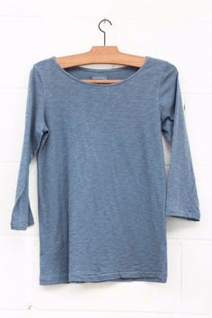 Camiseta manga tres cuartos básica, Camiseta básica, Camiseta azul, blue shirt, long sleeve, manga larga, algodón, System Action, shop online, lookbook, model, street Style, SS2015,