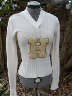 Vintage 50s VARSITY womens V NECK letterman sweater cheerleading uniform on Etsy, $40.00