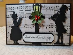 Horizontal Christmas Card, Black and White theme