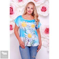 Футболка FashionUp «Beauty» (Белый, ромашки на голубом принт) http://lnk.al/3YyW  #стиль #стильно #наряды #стильные #стильномодномолодежно #стильныйобраз #стильныештучки #стильное #стильномодно