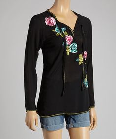 Another great find on #zulily! Como No? by Biz Black Floral Embroidered V-Neck Tunic by Como No? by Biz #zulilyfinds