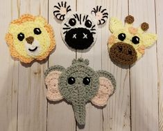 Animals of Africa Applique Pack- Crochet Pattern Only- Lion- Giraffe- Zebra- Elephant- Crochet Applique Pattern Crochet Fairy, Crochet Sheep, Crochet Animals, Crochet Applique Patterns Free, Crochet Coaster Pattern, Crochet Disney, I Love This Yarn, Yarn Colors, Crochet Crafts
