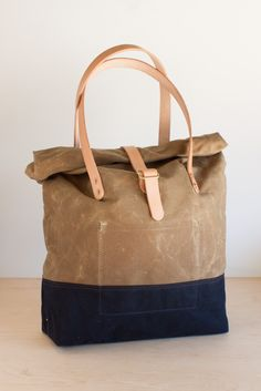 Waxed Canvas Roll-top Tote Bag