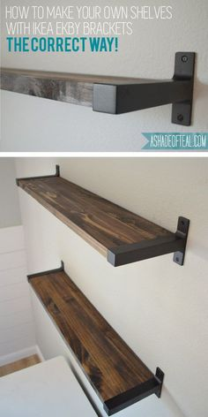 Rustic DIY Bookshelf with IKEA Ekby Brackets. Learn how to find wood that actual - Wood Bookcases - Ideas of Wood Bookcases - Rustic DIY Bookshelf with IKEA Ekby Brackets. Learn how to find wood that actually fits the IKEA brackets! Rustic Bookshelf, Bookshelf Brackets, Bookshelf Ideas, Bookshelves Ikea, Ikea Shelf Brackets, Industrial Shelves, Floating Shelf Brackets, Diy Bookshelf Wall, Homemade Home Decor