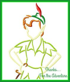 Peter Pan Sketch Digital Embroidery Machine  Design File 4x4 5x7 6x10