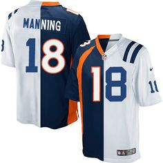Youth Nike Indianapolis Colts #18 Peyton Manning Elite White/Navy Blue Split Fashion NFL Jersey