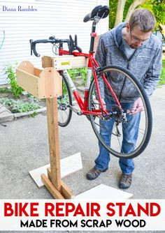 DIY Bike Repair Stand Tutorial – Need a bike stand, but don't want to shell out some bucks for one? Learn how to make a bicycle repair stand out of wood scraps. This frugal project goes together quickly and will help you to make adjustments to your bike. Bike Stand Diy, Bike Work Stand, Diy Bike, Bike Repair Stand, Bicycle Stand, Bike Stands, Homemade Bike Stand, Rack Velo, Bike Rack