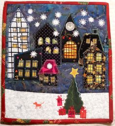 Happy Villages Christmas mini quilt by Lene Alve (Finland).  Inspired by Karen Eckmeier.