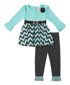 Loving this Aruba Blue Chevron Top & Leggings - Infant, Toddler & Girls on #zulily! #zulilyfinds