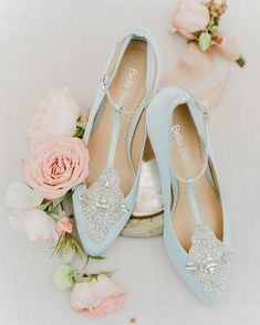 We're loving these delicate pale blue wedding shoes.