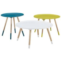 Spoke Side Table Pack of 3 Aqua, Yellow/ Chartruese and white $199 Freedom Cool coloured side tables, painted dipped legs