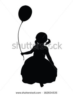little girl with balloons silhouette clip art - Google Search