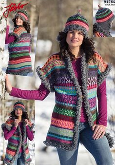 Cool and handy. Knit your own reversible west and hat!