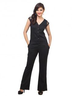 eb2580060eb8 Rayon Black Jumpsuits - Jumpsuits - By Cottinfab.com Designer Jumpsuits