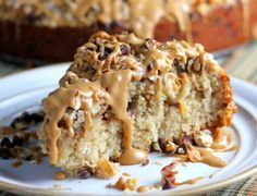 Chocolate Chip and Peanut Butter Oatmeal Cake yum!