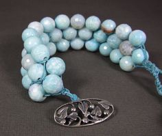 Tourquoise Blue Fire Agate Beaded Cuff Sterling by UrbanCorner, $74.00