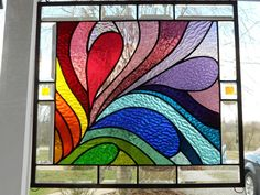 From Kokomo Opalescent Glass Factory. love it - would be fairly easy to do… Stained Glass Quilt, Faux Stained Glass, Stained Glass Designs, Stained Glass Panels, Stained Glass Projects, Stained Glass Patterns, Leaded Glass, Mosaic Art, Mosaic Glass