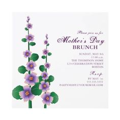 Pretty purple and green Invitations for a Mother's Day Tea party or brunch.