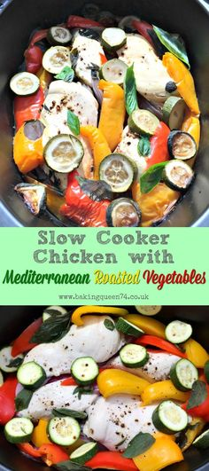 Slow Cooker Chicken with Mediterranean Roasted Vegetables - a simple slow cooker recipe, perfect for the summer months, and ideal for Weight Watchers Smartpoints or Slimming World too paleo crockpot simple