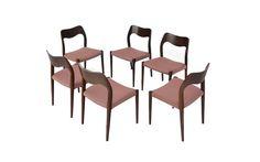 Set of 6 Danish Mid Century Modern Rosewood Chairs Moller
