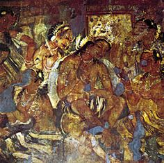 A Buddhist fresco from the Ajanta Caves