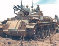 In July 1967, men of the 4th Battalion, 60th Artillery, stand guard on the perimeter of a Fire Support Base in Dek, Vietnam. Although the M42A1 self-propelled antiaircraft gun was obsolete by the time of the Vietnam War, the twin 40mm Bofors nonetheless could lay down a withering fire against ground troops. Source - Army: An Illustrated History