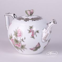 "Herend porcelain Tea Pot w. Butterfly Knob – Herend Queen Victoria Platinum pattern. Height: 14.0 cm (5.5""H) Length: 22.0 cm (8.7""L) Volume: 1.0 liter (33 OZ) Diameter: 12.5 cm (4.9""D)"