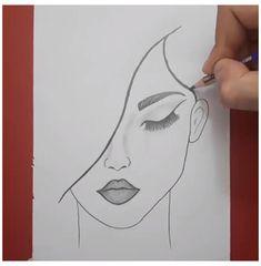 Girl Drawing Sketches, Cute Easy Drawings, Art Drawings Beautiful, Girly Drawings, Face Sketch, Art Drawings Sketches Simple, Pencil Art Drawings, Girl Drawing Easy, Easy Person Drawing