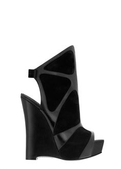 #alenjandroingelmo Nighthawk open toe layered assymetrical bootie in black, $895