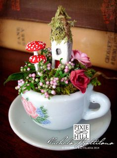 Tiny Fairy Cottage and Garden in a Miniature by PixieHillStudio, $35.00                                                                                                                                                                                 More