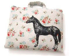 iPad Case Horse on Floral Linen by TrackandFieldDesigns on Etsy, (Made in Canada)