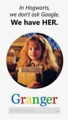 Umm so true we don't need Google no more we got Her Harry Potter Tumblr, Harry Potter World, Harry Potter Mems, Mundo Harry Potter, Harry Potter Spells, Harry Potter Pictures, Harry Potter Cast, Harry Potter Quotes, Harry Potter Characters