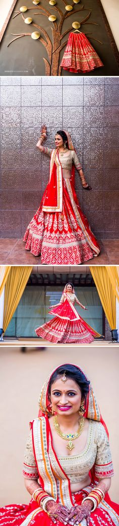 Indian Wedding Outfit Inspirations | DKreate Photography | Destination Wedding Photographer | Anita Dongre Designer Outfit. Red and Beige wedding lehenga. Gold antique necklace, earrings, bangles, tikka. @bigfatindianwedding