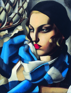 The Blue Scarf by artist Tamara Lempicka aka Tamara de Lempicka, (b.May 1898 Warsaw Poland - d. March Cuernavaca, Mexico) was a Polish Art Deco painter. Arte Art Deco, Moda Art Deco, Art Deco Artists, Art Deco Paintings, Estilo Art Deco, Pinturas Art Deco, Tamara Lempicka, Art Nouveau, Art Deco Stil