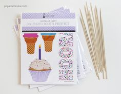 happy birthday photo booth props diy kit