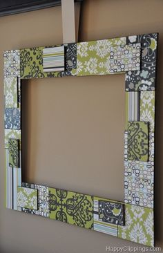 DIY: Patchwork Wood Wall Art... but I think it would make an awesome frame!