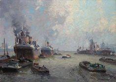 Rotterdam - Havengezicht. Schilderij van Gerard Delfgaauw .