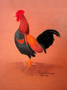 "©2004, Magda de Lange, ""Rooster"", Coloured Pencil on Paper, 24x32 cm  Available at: http://www.magdasart.com"