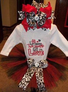 03 months long sleeve onesie tutu and ott bow with by mimibella14, $35.99